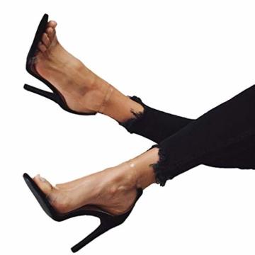 Juleya High Heels Sandaletten Damen Stiletto Schuhe, 11.5cm Frauen Römersandalen, Transparente Peep Toe Sandalen, Knöchel Schnalle Party Freizeit Hochzeit Abend Sommer Strand Schuhe Schwarz 39 - 1