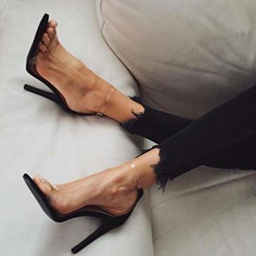 Juleya High Heels Sandaletten Damen Stiletto Schuhe, 11.5cm Frauen Römersandalen, Transparente Peep Toe Sandalen, Knöchel Schnalle Party Freizeit Hochzeit Abend Sommer Strand Schuhe Schwarz 39 - 5
