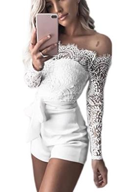 Jumojufol Damen Jumpsuit Sommer Aus Schulter Spitzen Patchwork Rückenfrei Gürtel Bodycon Kurzen Hosen Und Overalls Rompers White M - 1