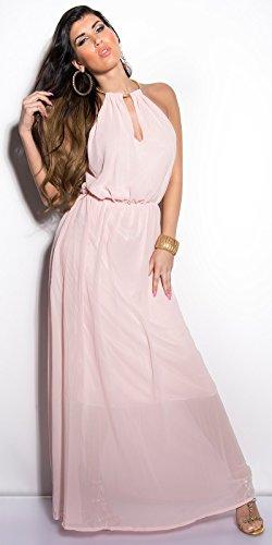 K003 Sommer Kleid Rosa M/L Chiffon Kleid Halskette Damen Neckholder Sommerkleid mit Collier - 1