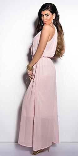 K003 Sommer Kleid Rosa M/L Chiffon Kleid Halskette Damen Neckholder Sommerkleid mit Collier - 2