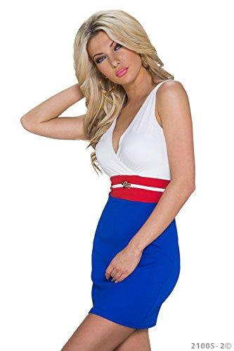 K1059 Fashion4Young Damen Tailliertes Minikleid Wickeloptik dress robes Gr. 34/36 in 3 Farben (34/36, Weiß Royalblau) - 2