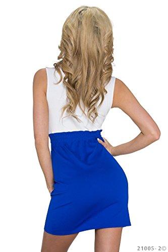 K1059 Fashion4Young Damen Tailliertes Minikleid Wickeloptik dress robes Gr. 34/36 in 3 Farben (34/36, Weiß Royalblau) - 3