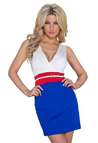 K1059 Fashion4Young Damen Tailliertes Minikleid Wickeloptik dress robes Gr. 34/36 in 3 Farben (34/36, Weiß Royalblau) - 1