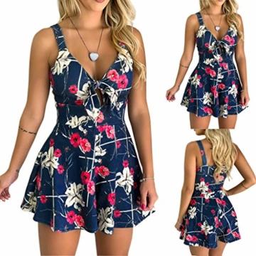 Kaister Damen Mode Print Jumpsuit Boho Ärmellos Sommerkleid Strandkleid Casual Mini Schulter Overall Playsuit - 2