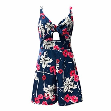 Kaister Damen Mode Print Jumpsuit Boho Ärmellos Sommerkleid Strandkleid Casual Mini Schulter Overall Playsuit - 5