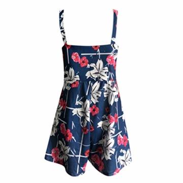 Kaister Damen Mode Print Jumpsuit Boho Ärmellos Sommerkleid Strandkleid Casual Mini Schulter Overall Playsuit - 6