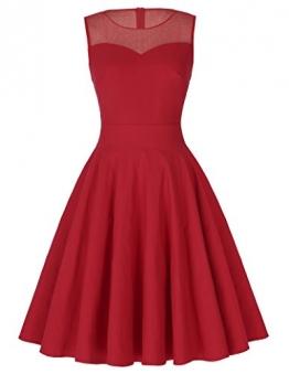 Kate Kasin® Kurz elegant elastisch rot A-Linie Falsten Kleid Hochzeit Partykleid S KK391-2 -