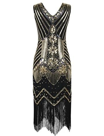 kayamiya Damen 1920er Pailletten Perlen Floral Verschönerte Fransen Gatsby Flapper Kleid M Gold - 2
