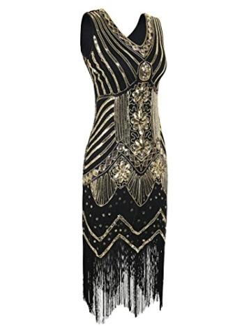 kayamiya Damen 1920er Pailletten Perlen Floral Verschönerte Fransen Gatsby Flapper Kleid M Gold - 3