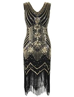 kayamiya Damen 1920er Pailletten Perlen Floral Verschönerte Fransen Gatsby Flapper Kleid M Gold - 1