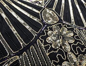 kayamiya Damen 1920er Pailletten Perlen Floral Verschönerte Fransen Gatsby Flapper Kleid M Gold - 4