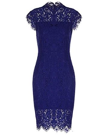 Kenancy Damen Elegant Cocktailkleid Ärmelloses Spitzen Partykleid Blumen Rundhals Knielang Kleid-Blau-M - 2