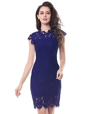Kenancy Damen Elegant Cocktailkleid Ärmelloses Spitzen Partykleid Blumen Rundhals Knielang Kleid-Blau-M - 3