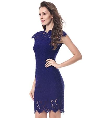 Kenancy Damen Elegant Cocktailkleid Ärmelloses Spitzen Partykleid Blumen Rundhals Knielang Kleid-Blau-M - 4