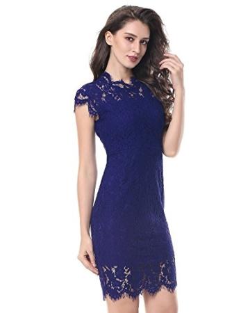 Kenancy Damen Elegant Cocktailkleid Ärmelloses Spitzen Partykleid Blumen Rundhals Knielang Kleid-Blau-M - 1