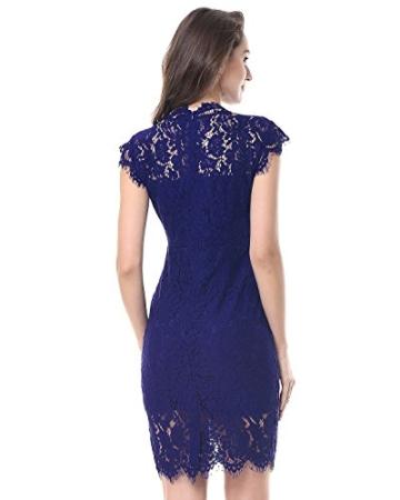 Kenancy Damen Elegant Cocktailkleid Ärmelloses Spitzen Partykleid Blumen Rundhals Knielang Kleid-Blau-M - 5