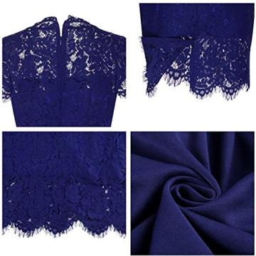 Kenancy Damen Elegant Cocktailkleid Ärmelloses Spitzen Partykleid Blumen Rundhals Knielang Kleid-Blau-M - 6