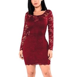 KJSEXY Damen Kleider Spitzenkleid Bodycon Cocktailkleid Abendkleid Partykleider (XX-Large, Rot) - 1