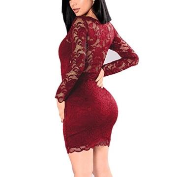 KJSEXY Damen Kleider Spitzenkleid Bodycon Cocktailkleid Abendkleid Partykleider (XX-Large, Rot) - 2