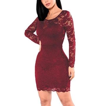 KJSEXY Damen Kleider Spitzenkleid Bodycon Cocktailkleid Abendkleid Partykleider (XX-Large, Rot) - 4