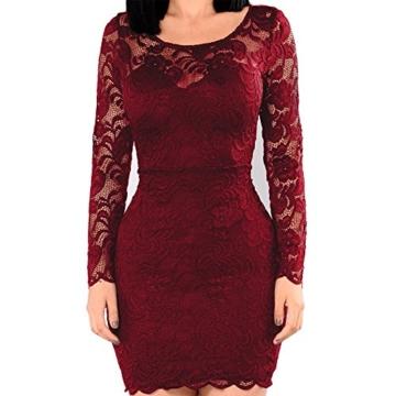 KJSEXY Damen Kleider Spitzenkleid Bodycon Cocktailkleid Abendkleid Partykleider (XX-Large, Rot) - 5