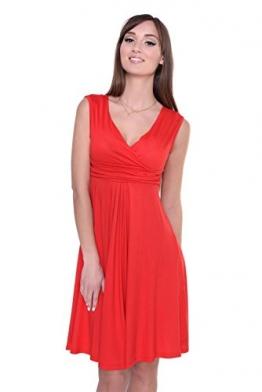 Kleid A-Linie Knielang mit Raffungen überlappender V-Ausschnitt, 8125 Rot XL/2XL 42/44 -