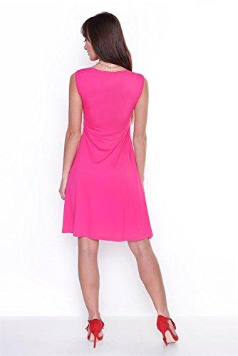 Kleid A-Linie Knielang mit Raffungen überlappender V-Ausschnitt, 8125 Pink S/M 36/38 -
