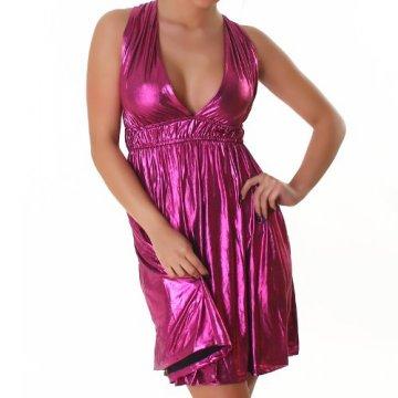 Kleid Cocktailkleid Minikleid V-Ausschnitt Leder-Optik Wet-Look Neckholder Einheitsgröße 34-40 - Pink -