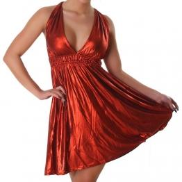 Kleid Cocktailkleid Minikleid V-Ausschnitt Leder-Optik Wet-Look Neckholder Einheitsgröße 34-40 - Rot -