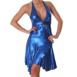 Kleid Cocktailkleid Minikleid V-Ausschnitt Leder-Optik Wet-Look Einheitsgröße (34-38) - Blau - 1