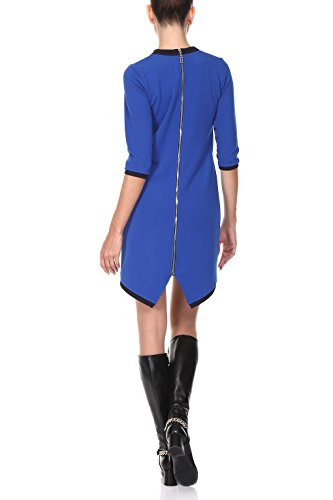 Kleid Damen A-Linie kurz in Blau - RED Isabel - Minikleid elegant für Freizeit und Business, Fishtail & Retro-Look 60er, Modell: Gent, Blau, DE 42 -