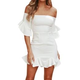 Kleid Damen Elegant Btruely Boho Abendkleid Sommerkleid Strandkleid Vintage Partykleid A-Line Cocktailkleid Frauen Schulterfrei Kleid Volant Kleid (M, Weiß 2) - 1