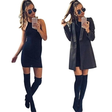 Kleid damen Kolylong Frauen ärmel Bodycon beiläufige dünne Minikleid (XL, Schwarz) - 2