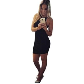 Kleid damen Kolylong Frauen ärmel Bodycon beiläufige dünne Minikleid (XL, Schwarz) - 3
