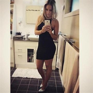 Kleid damen Kolylong Frauen ärmel Bodycon beiläufige dünne Minikleid (XL, Schwarz) - 4