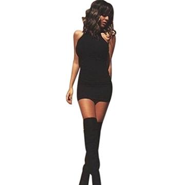 Kleid damen Kolylong Frauen ärmel Bodycon beiläufige dünne Minikleid (XL, Schwarz) - 1