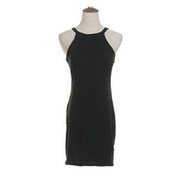 Kleid damen Kolylong Frauen ärmel Bodycon beiläufige dünne Minikleid (XL, Schwarz) - 5