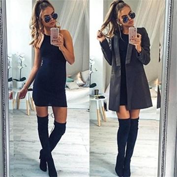 Kleid damen Kolylong Frauen ärmel Bodycon beiläufige dünne Minikleid (XL, Schwarz) - 6