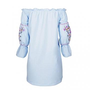kleid damen Kolylong® Frauen aus Schulter elegantes Blumen gedrucktes Minikleid Party Kleid Sommer lose Strandkleid Bodycon Böhmisches kleid Abendkleid (S, Blau) -