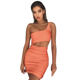 Kleid damen Kolylong® Frauen Elegant Trägerlos Kleid Kurz Vintage Rückenfreies Kleider Slim Bleistiftkleid Etuikleid Festlich Minikleid Strandkleid Cocktail Partykleid Abendkleid (Orange, M) - 1