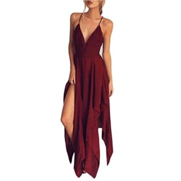 kleid damen Kolylong ® Frauen mit V-Ausschnitt elegante backless lange Kleid Partykleid Strandkleid Abendkleid Sommerkleid (M, Rot) - 1