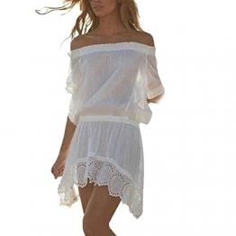 kleid damen Kolylong Frauen weg von der Schulter Chiffon Bikini Strand Kleid Weiß (M) -
