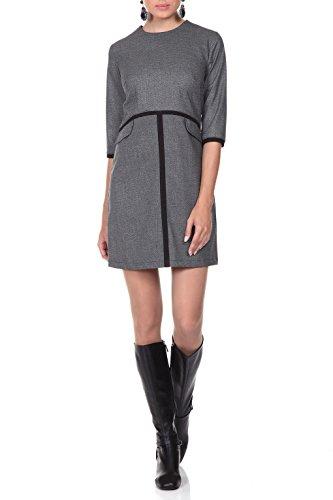 Kleid Damen kurz in Grau - RED Isabel - Minikleid im Empire-Stil, A-Linie, Retro-Look & hohe Taille, Modell: Wavre, Grau, DE 38 -