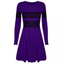 Kleid Damen langärmlig Spitze Netzstoff ausgestellt Franki kurz Minikleid Skater Kleid - Übergröße 52, Violett - Kurzes Minikleid - 1