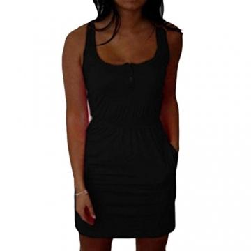 Kleid damen mini Kolylong Frauen Feder Sommer beiläufige Baumwolle Bodycon Minikleid (S 34, Schwarz) -