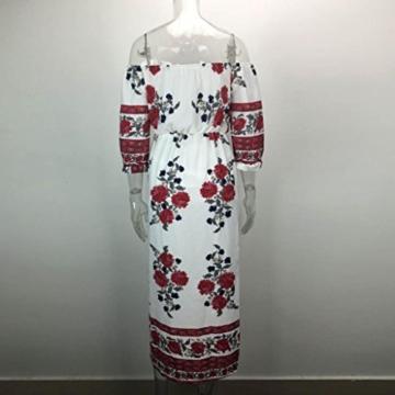 Kleid Damen Retro Schulterfrei Kleid Boho Abendkleid Btruely Mode Sommerkleid Trägerlos Kleid Vintage Partykleid Frauen Lange Kleid (L, Weiß) - 4