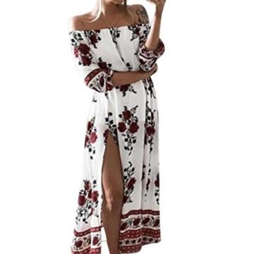Kleid Damen Retro Schulterfrei Kleid Boho Abendkleid Btruely Mode Sommerkleid Trägerlos Kleid Vintage Partykleid Frauen Lange Kleid (L, Weiß) - 1