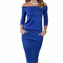 Kleid Damen Sunday Frauen Beiläufiges Stickerei Bleistift Lange Hülsen Bodycon Figurbetontes Elegant (Blau, L) - 1