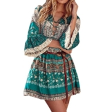 Kleid Damen,Binggong Frauen Blumendruck drei Viertel Lose Ärmel Boho Kleid Damen Elegant Abend Party Mode Beiläufiges Shirt Mini Schmetterlingshülse Kleid (Sexy Grün, S) - 1
